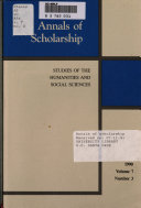 Annals Of Scholarship book