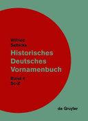 Historisches Deutsches Vornamenbuch: Sc-Z