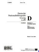 Deutsche Nationalbibliographie Und Bibliographie Der Im Ausland Erschienenen Deutschsprachigen Veröffentlichungen : ...