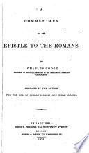 illustration A Commentary on the Epistle to the Romans