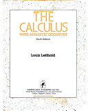 The calculus of a single variable with analytic geometry