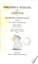 BIBLIOTECA ITALIANA O SIA GIORNALE DI LETTERATURA  SCIENZE ED ARTI COMPILATO DA VARJ LETTERATI
