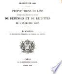 Propositions de Lois concernant la fixation des budgets des d  penses et de recettes de l exercice 1837