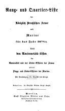 Rang- und Quartier-Liste der Königlich Preussischen Armee und Marine für das Jahr...