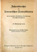 Literarisches Zentralblatt F R Deutschland