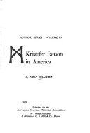 Kristofer Janson In America