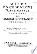 Miles madedonicus Plautino sale perfrictus   A satire on works written by F  Macedo under the pseudonym Henricus Hausen