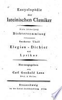 Auserlesne Stücke der Elegien-Dichter und Lyriker