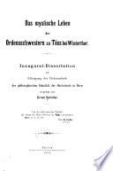 Das mystische Leben der Ordensschwestern zu T  ss bei Winterthur