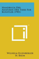 Handbuch Der Anatomie Der Tiere Fur Kunstler  1901