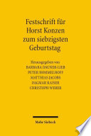 Festschrift für Horst Konzen zum siebzigsten Geburtstag