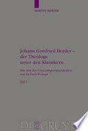 Johann Gottfried Herder, der Theologie unter den Klassikern