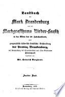 Landbuch der Mark Brandenburg und des Markgrafthums Nieder-Lausik