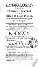 Loimologia Or An Historical Account of the Plague in London in 1665