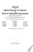 Journal of the Optical Society of America Book PDF