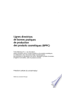 Guidelines for Good Manufacturing Practice of Cosmetic Products  GMPC