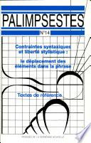 Contraintes syntaxiques et libert   stylistique