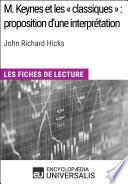 illustration M. Keynes et les « classiques » : proposition d'une interprétation de John Richard Hicks, Les Fiches de lecture d'Universalis