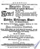 Synopsis Bibliothecae Exegeticae In Novum Testamentum