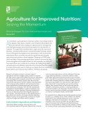 Agriculture for improved nutrition: Seizing the momentum: Synopsis To Be Tapped New Ideas Research