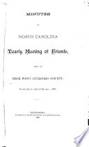 Minutes of the North Carolina Yearly Meeting Book PDF