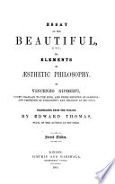 Essay On The Beautiful Etc Or Elements Of Sthetic Philosophy Translated By E Thomas Second Edition
