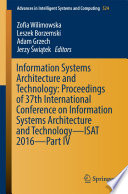 Information Systems Architecture and Technology: Proceedings of 37th International Conference on Information Systems Architecture and Technology – ISAT 2016 –
