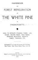 Handbook on Forest Mensuration of the White Pine in Massachusetts