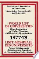 World List of Universities 1977   78   Liste Mondiale des Universites