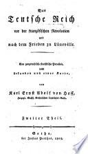Das Teutsche Reich vor der franz  sischen Revolution und nach dem Frieden zu Luneville