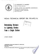 Determining Distance to Lightning Strokes from a Single Station Book PDF