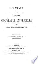 Souvenir De La Cinqui Me Conf Rence Universelle Des Unions Chr Tiennes De Jeunes Gens Paris Septembre 1867 Edited By W Fazy