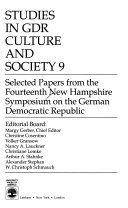 Studies in Gdr Culture and Society 9