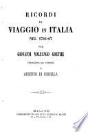 Ricordi di viaggio in Italia nel 1786 87