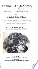 A Dictionary Of Chronology Fourth Edition Of Chronology Or The Historian S Companion Considerably Enlarged