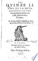 Les quinze livres de la metamorphose D'Ovide