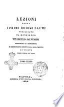 Lezioni sopra i primi dodici salmi pubblicate da monsignor Vitangelo Salvemini arcivescovo di Manfredonia