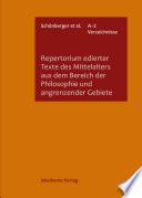Repertorium edierter Texte des Mittelalters aus dem Bereich der Philosophie und angrenzender Gebiete