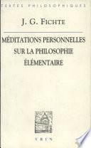 M  ditations personnelles sur la philosophie   l  mentaire