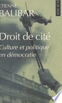 Droit De Cit Culture Et Politique En D Mocratie
