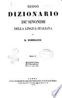 Nuovo dizionario de  sinonimi della lingua italiana di Niccolo Tommaseo