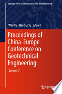 Proceedings Of China Europe Conference On Geotechnical Engineering