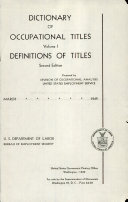 Dictionary of Occupational Titles: Definitions of titles