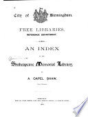 An Index to the Shakespeare Memorial Library