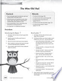 Rhythm & Rhyme Literacy Time: Activities for The Wise Old Owl