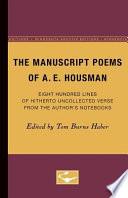 The Manuscript Poems of A  E  Housman