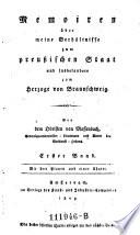Memoiren über meine Verhältnisse zum preußischen Staat und insbesondere zum Herzoge von Braunschweig