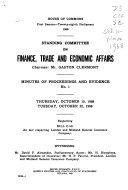 Procès-verbaux Et Témoignages Du Comité Permanent Des Finances, Du Commerce Et Des Questions Économiques