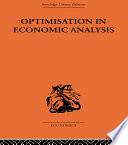 Optimisation In Economic Analysis book
