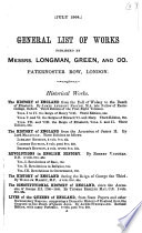 General List of Works Published by Messrs  Longman  Green  and Co  Paternoster Row  London Book PDF